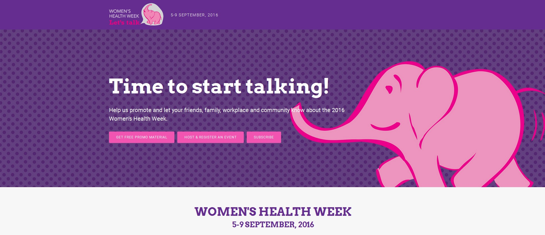 Women's Health Week (5 - 9 September 2016)